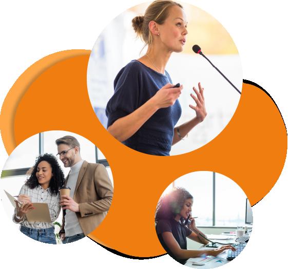 Verschiedene Szenen aus dem kommunikativen Berufsalttag in Kreisen auf orangenem Hintergrund, steht symbolisch für Sprachkurse für Unternehmen, welche die Go Language Heilbronn anbietet