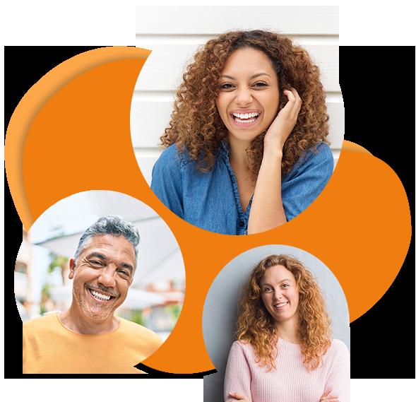 Go Language Sprachschule Heilbronn: Personen unterschiedlicher Nationalität lachend in Kreise vor orangenem Hintergrund