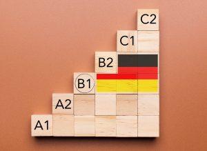 Verschiedene Niveaustufen für Sprachlevels (A1-C2) symbolisiert mit Stufen aus Holzbausteinen für einen Deutschkurs Heilbronn